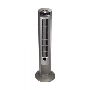 Lasko-T42951-Wind-Curve-Portable-Electric-Oscillating-Stand-Up-Tower-Fan-with-Remote-Control-for-Indoor,-Bedroom,-and-Home-Office-Use,-Woodgrain,-13x13x42.5-Silverwood