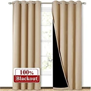 NICETOWN Thermal Insulated Blackout Curtains, Noise Reducing Performance Drapes with Full Light Blocking